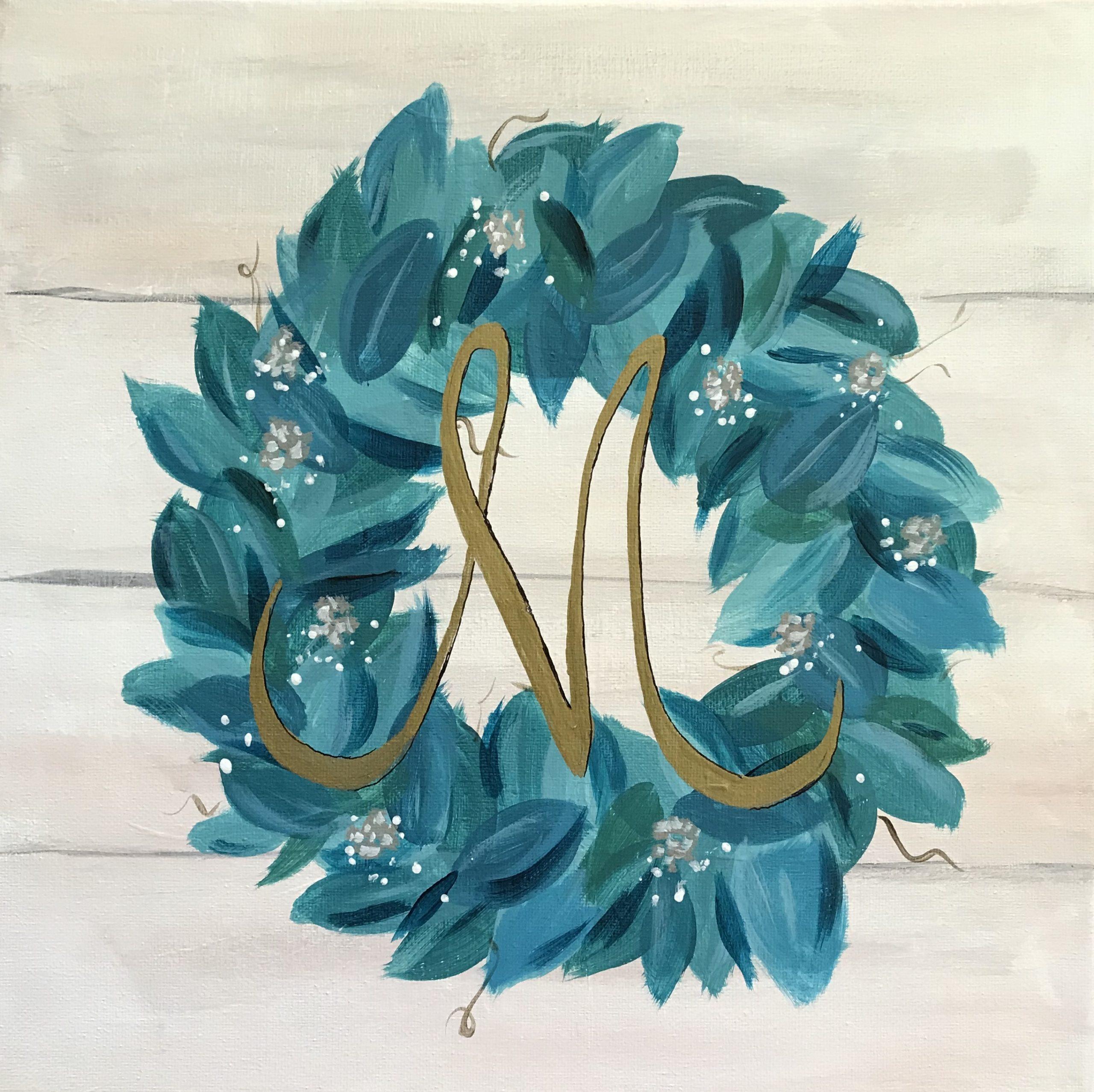 Holiday Acrylic Painting Workshop For Adults Monogram Wreath Mckee Botanical Garden